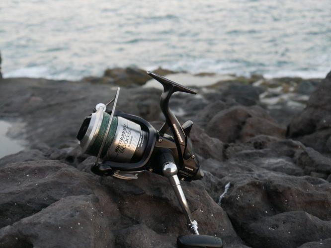 Shimano Baitrunner OC auf Felsen am Meer